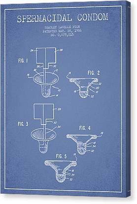 Protection Canvas Print - Spermacidal Condom Patent From 1986 - Light Blue by Aged Pixel
