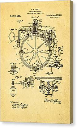 Sperry Gyroscopic Compass Patent Art 1918 Canvas Print by Ian Monk
