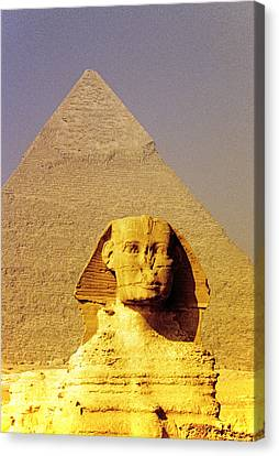 Sphinx And Pyramid Canvas Print