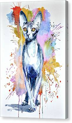 Canvas Print featuring the painting Sphinx Cat by Steven Ponsford