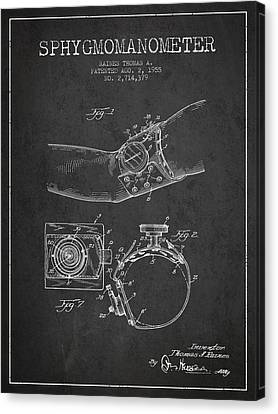Sphygmomanometer Patent Drawing From 1955 - Dark Canvas Print