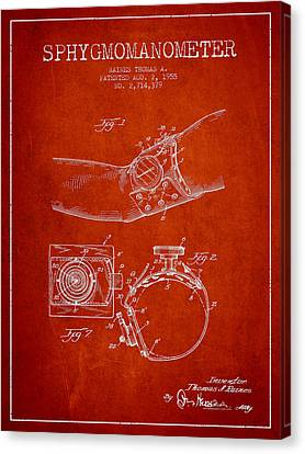 Sphygmomanometer Patent Drawing From 1955 - Red Canvas Print