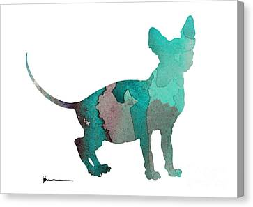 Sphynx Cat Silhouette Art Print Canvas Print by Joanna Szmerdt