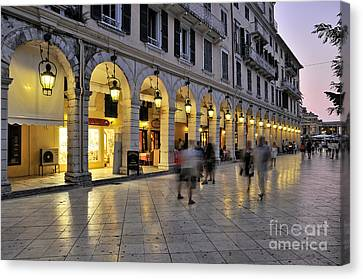 Spianada Square During Dusk Time Canvas Print by George Atsametakis