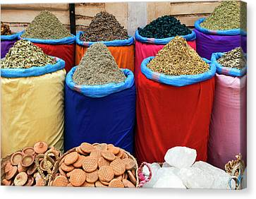 Spices For Sale, Souk In The Medina Canvas Print by Nico Tondini