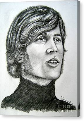 Canvas Print featuring the drawing  A Young Barry Gibb by Patrice Torrillo