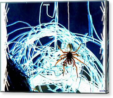 Canvas Print featuring the digital art Spider by Daniel Janda