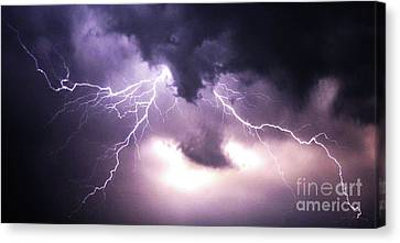 Spider Lightening Canvas Print by Angela Wright