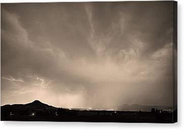 Spider Lightning Above Haystack Boulder Colorado Sepia Canvas Print by James BO  Insogna
