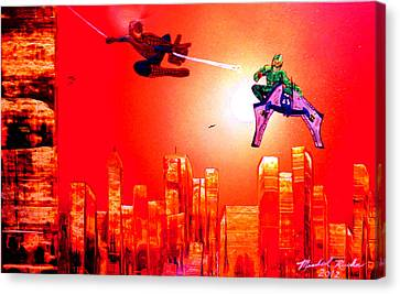 Canvas Print featuring the painting Spider Man  by Michael Rucker