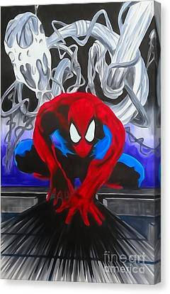 Spider-man Watercolor Canvas Print by Justin Moore