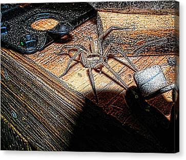 Canvas Print featuring the digital art Spider On The Move by Robert Rhoads