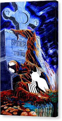 Spider Resurrection Pop Art Canvas Print by Justin Moore