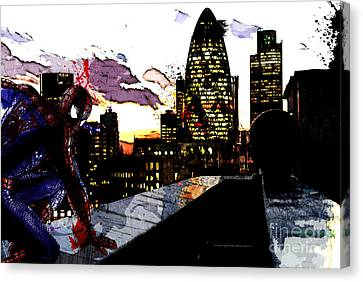 Rooftop Canvas Print - Spiderman In London by The DigArtisT
