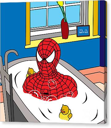 Shower Canvas Print - Spiderman  by Mark Ashkenazi