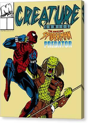 Spiderman Vs Predator Canvas Print by Mista Perez Cartoon Art