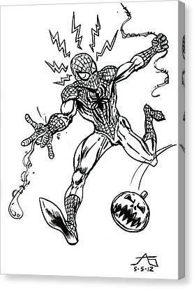 Spidey Dodges A Pumpkin Bomb Canvas Print by John Ashton Golden