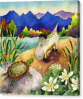 Spike The Dhog Comes Nose To Nose With A Painted Turtle Canvas Print by Anne Gifford