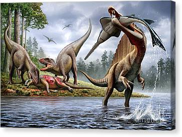 Food In Mouth Canvas Print - Spinosaurus Hunting An Onchopristis by Mohamad Haghani