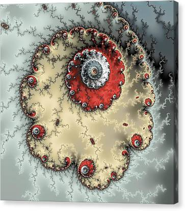 Spiral - Fractal Artwork In Yellow Gray And Red Canvas Print by Matthias Hauser