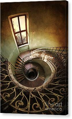 Spiral Staircaise With A Window Canvas Print by Jaroslaw Blaminsky