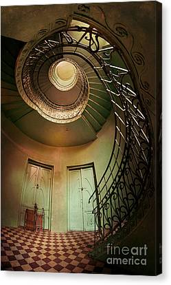 Spiral Staircaise With Two Doors Canvas Print by Jaroslaw Blaminsky