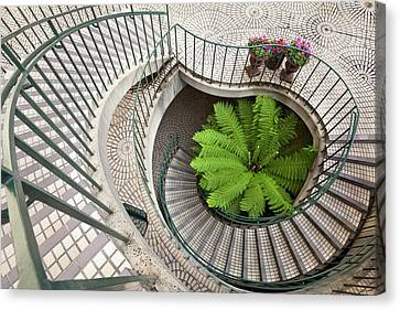 Spiral Staircase At The Embarcadero Canvas Print by Chuck Haney