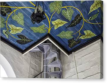 Spiral Stairs And Mural Canvas Print by Lynn Palmer