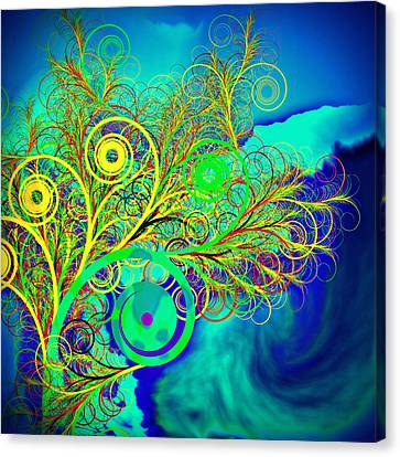 Spiral Tree With Blue Background Canvas Print by GuoJun Pan