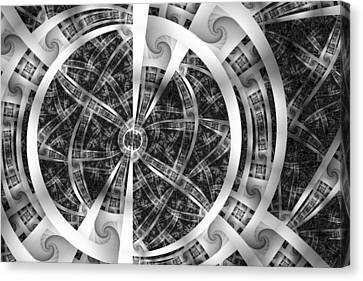 Spirals Spokes And Curves No. 3 Canvas Print by Mark Eggleston