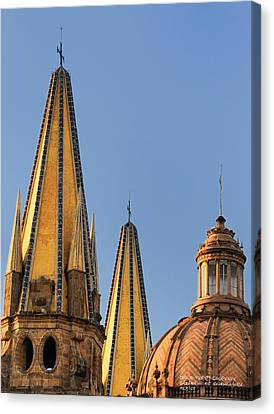 Spires And Dome - Cathedral Of Guadalajara Mexico Canvas Print by David Perry Lawrence