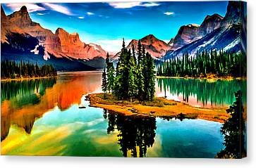 Spirit Island On Maligne Lake Jasper National Park Canvas Print by Bob and Nadine Johnston