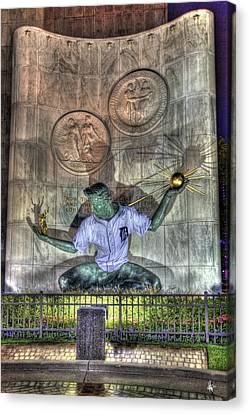 Spirit Of Detroit In Tiger Jersey Detroit Mi Canvas Print by A And N Art