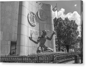 Spirit Of Detroit With Flag In Black And White  Canvas Print by John McGraw