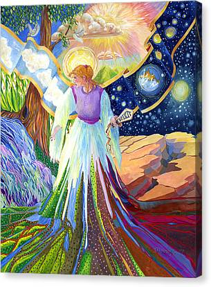 Spirit Of God Angel Between Good And Evil Canvas Print by Jacquelin Vanderwood