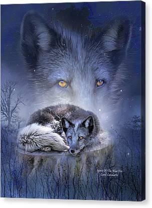 Spirit Of The Blue Fox Canvas Print by Carol Cavalaris