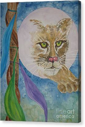 Canvas Print featuring the painting Spirit Of The Mountain Lion by Ellen Levinson