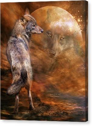 Spirit Of The Wolf Canvas Print by Carol Cavalaris