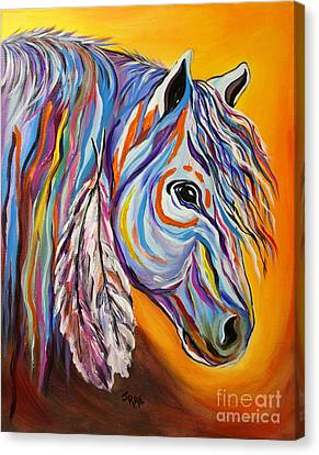 Canvas Print featuring the painting 'spirit' War Horse by Janice Rae Pariza