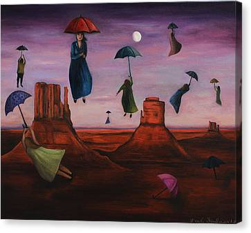 Spirits Of The Flying Umbrellas Canvas Print by Leah Saulnier The Painting Maniac