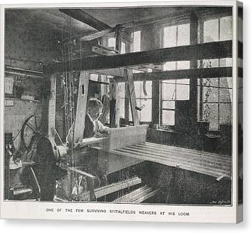Loom Canvas Print - Spitalfields Weaver At His Loom by British Library