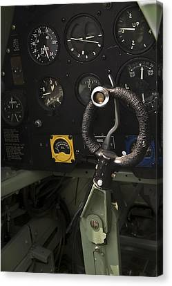 Spitfire Cockpit Canvas Print by Adam Romanowicz