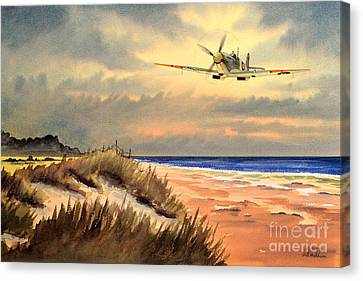 Spitfire Mk9 - Over South Coast England Canvas Print by Bill Holkham