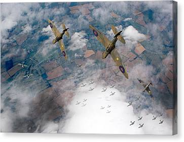 Raf Spitfires Swoop On Heinkels In Battle Of Britain Canvas Print