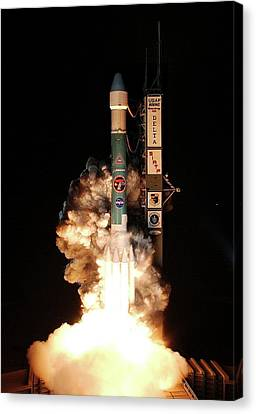 Spitzer Space Telescope Launch Canvas Print by Nasa/ksc