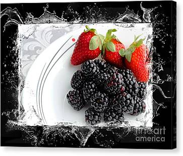 Splash - Fruit - Strawberries And Blackberries Canvas Print by Barbara Griffin
