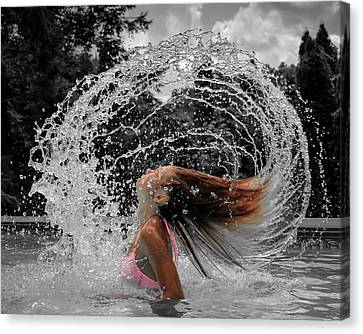 Hair Flip Splash Canvas Print by Brian Caldwell