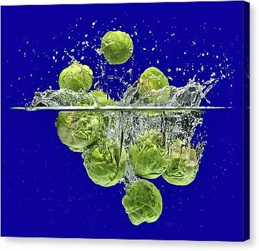 Splash-brussels Sprouts Canvas Print
