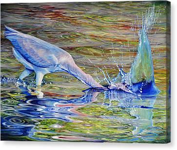 Splash Fishing Canvas Print by AnnaJo Vahle
