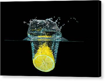 Splashing Lemon Canvas Print